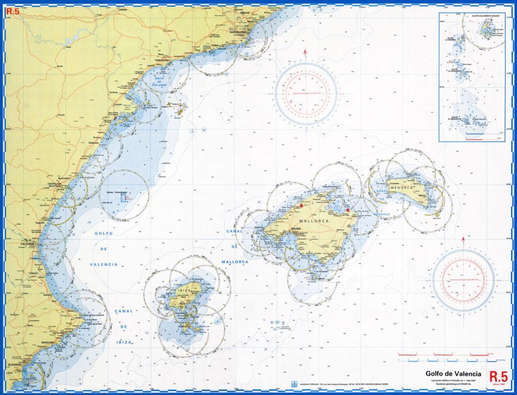 carta navegación mediterraneo prácticas velero