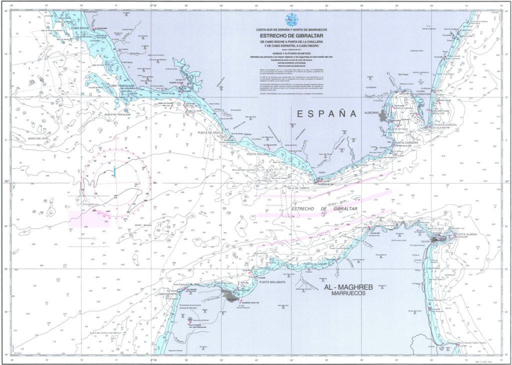 carta navegación estrecho Gibraltar prácticas velero